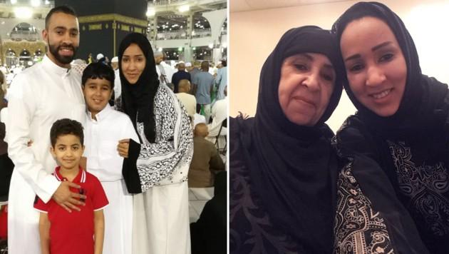 Manal mit ihrem Bruder, ihrem Sohn und ihrem Neffen und rechts mit ihrer Mutter