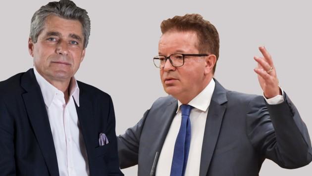 FPÖ-Landtagsklubobmann Herwig Mahr und Integrationslandesrat Rudi Anschober (Grüne).