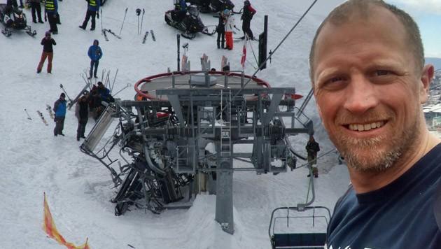 Der Linzer Gregor Hartl saß mit einer Skigruppe aus Oberösterreich am Horror-Lift in Georgien.