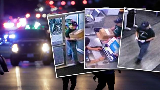 Videoaufnahmen des Mannes in einer FedEx-Filiale
