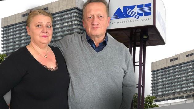 Robert Salfenauer und seine Frau Mara sind über den Vorfall im AKH schockiert. (Bild: APA/HANS KLAUS TECHT, Charlotte Sequard-Base, krone.at-Grafik)