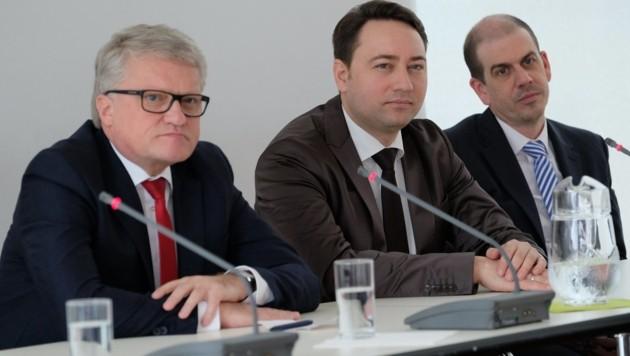 Der Linzer Bürgermeister Klaus Luger, LH-Vize Manfred Haimbuchner und Meinungsforscher Peter Hajek (v.l.).