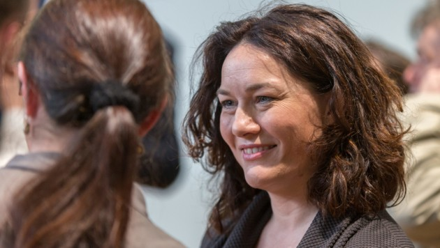 Landeshauptmannstellvertreterin Ingrid Felipe während der Landesversammlung der Tiroler Grünen mit Abstimmung über den Koalitionspakt mit der ÖVP (Bild: APA/EXPA/JAKOB GUBER)