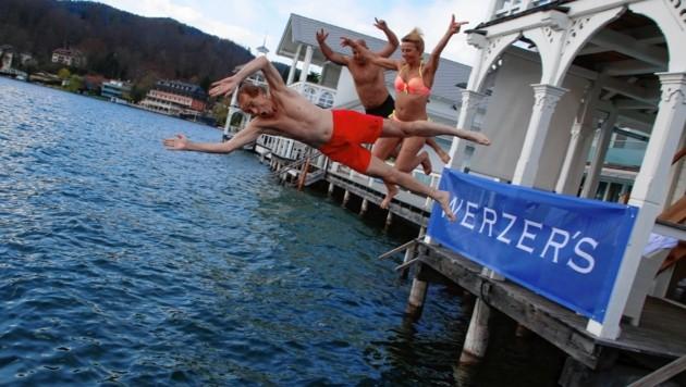 erster Sprung in den See , Heribert Kaspar , Maria Lahr , Saisoneröffnung Werzer , Werzers , Pörtschach , Adabei