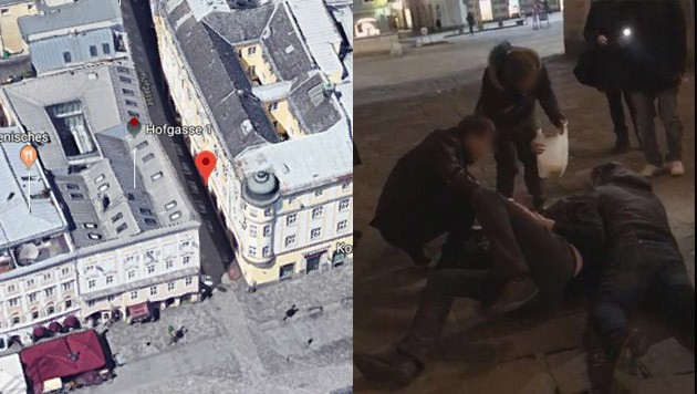 In der Linzer Hofgasse (roter Punkt) ereignete sich der Vorfall. Ein Tram-Kontrolleur (r.) riss Christian L. zu Boden und legte sich auf ihn drauf - Passanten (l.) greifen helfend ein.