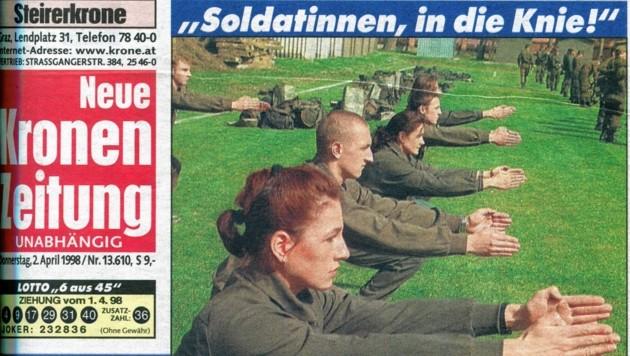 """So titelte die """"Steirerkrone"""" am 2 April 1998, als die ersten Frauen in der Erzherzog-Johann-Kaserne Straß den Dienst antraten."""