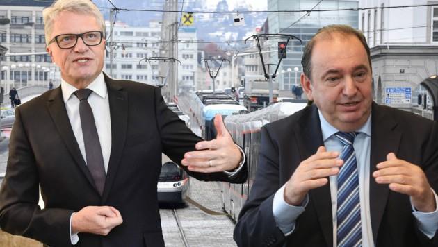 Der Linzer Bürgermeister Klaus Luger (l.) und Linz AG-Generaldirektor Erich Haider überlegen das Aus für jene Sicherheitsfirma, die in Linz seit 15 Jahren die Straßenbahnen und Busse kontrollieren.