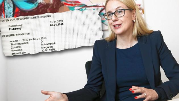 """Wirtschaftsministerin Margarete Schramböck hatte bis zum Amtsantritt einen Energetik-Gewerbeschein. (Bild: Peter Tomschi, """"Krone"""", krone.at-Grafik)"""