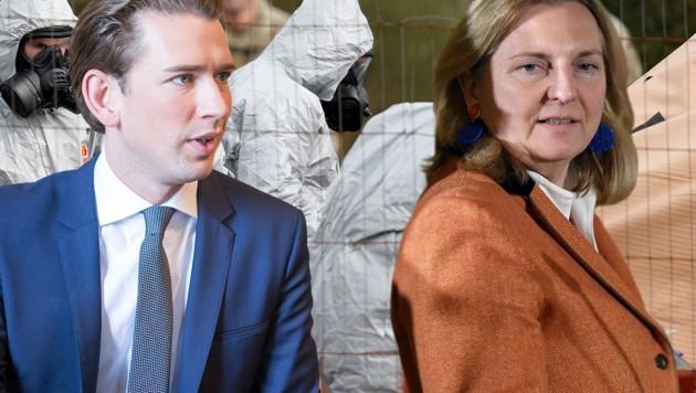 Sebastian Kurz, Karin Kneissl (Bild: AFP, APA/JAKOB GLASER, krone.at-Grafik)