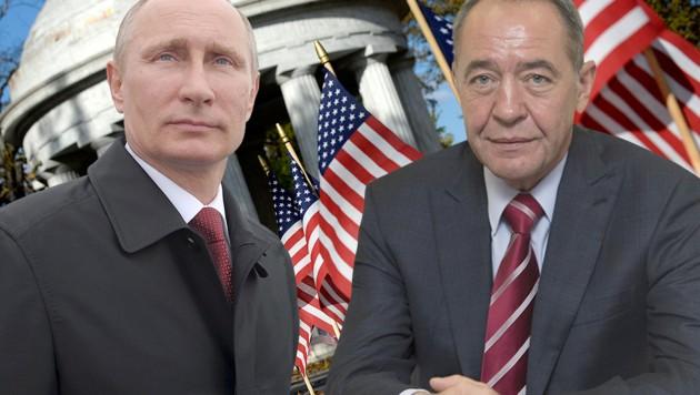 Wollte Putins Ex-Minister Michail Lessin (re.) die Seiten wechseln? Das FBI ermittelt. (Bild: AFP, EPA/ALEXEY/DRUGINYN/RIA NOVOSTI KREMLIN, krone.at-Grafik)