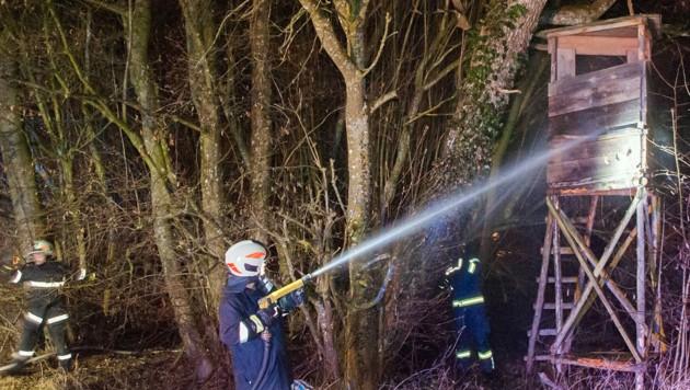 Feuerwehrleuten gelang es, den Jägerstand in Schalchen vor der Vernichtung zu bewahren
