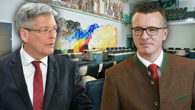 SPÖ-Landeshauptmann Peter Kaiser und Kärntens FPÖ-Chef Gernot Darmann (Bild: APA/BARBARA GINDL, APA/GERT EGGENBERGER, krone.at-Grafik)