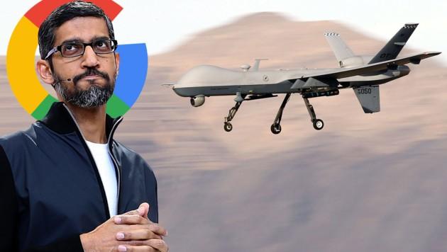 Google-Chef Sundar Pichai vor einer US-Drohne vom Typ MQ-9 Reaper (Bildmontage) (Bild: AFP, Google, krone.at-Grafik)