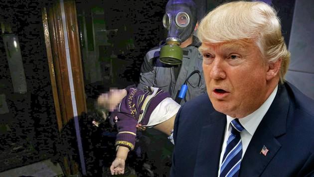 """Wie reagiert US-Präsident Donald Trump auf die jüngsten Berichte über einen möglichen Giftgasangriff in Syrien? Russland warnt vor einer Militärintervention """"unter erfundenen Vorwänden"""". (Bild: AP, krone.at-Grafik)"""
