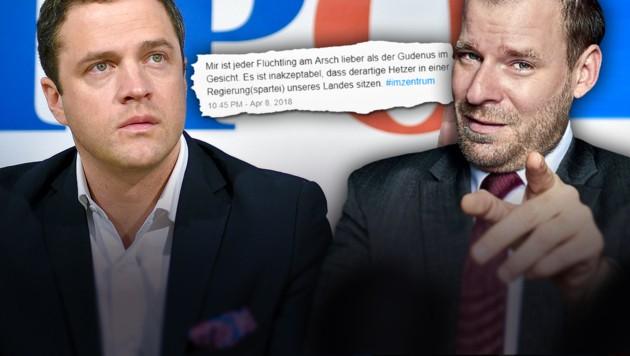 Johann Gudenus (links) und Rudi Fußi (Bild: APA/HERBERT NEUBAUER, twitter.com, krone.at-Grafik)