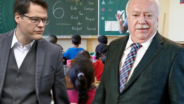 Jürgen Czernohorszky und Michael Häupl (Bild: APA/HERBERT NEUBAUER, Reinhard Holl, krone.at-Grafik)