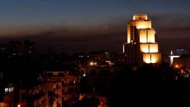 Rauchschwaden sind in Damaskus nach Luftschlägen der USA, Großbritanniens und Frankreichs zu sehen.
