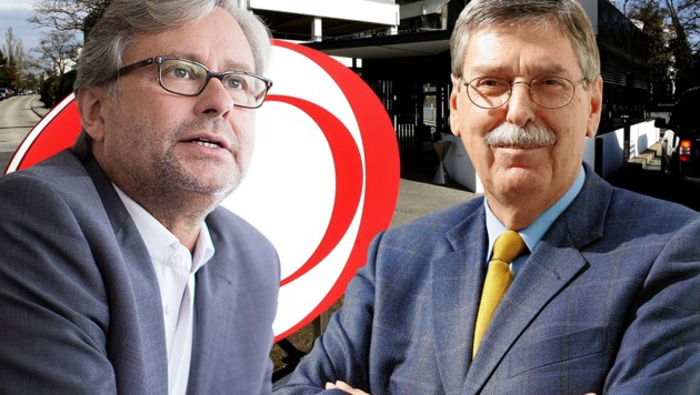 ORF-Chef Alexander Wrabetz, FPÖ-Stiftungsrat Norbert Steger (Bild: Klemens Groh, APA/Georg Hochmuth, APA/Harald Schneider, krone.at-Grafik)