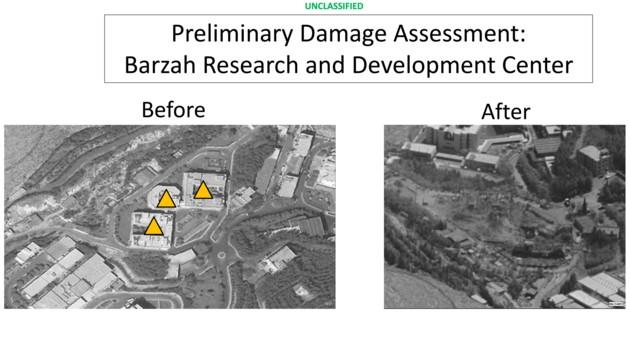 Ein Gebäude der Forschungseinrichtung in Barsah nördlich von Damaskus wurde der syrischen Armeeführung zufolge beschädigt. Diese Bilder zeigen das Zentrum vor bzw. nach den Angriffen.