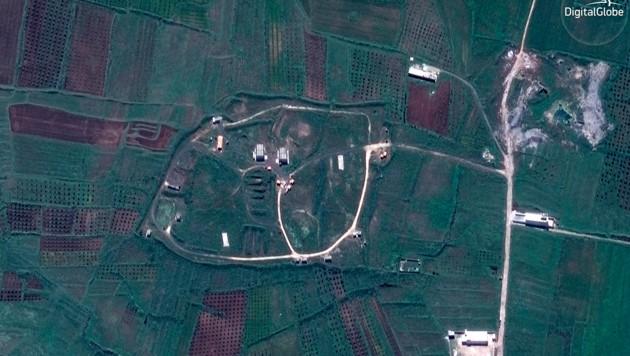 In der Lagerstätte bei Shin wurden chemische Kampfstoffe gelagert, es war auch eine Forschungseinrichtung. Das Bild zeigt das Depot vor den Angriffen der Westmächte.