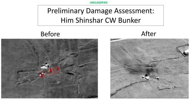 Nahe der Lagerstätte bei Shin bombardierten die USA auch einen wichtigen Kommandoposten der syrischen Armee.