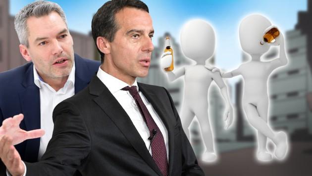 """ÖVP-Generalsekretär Karl Nehammer findet den """"B'soffenen""""-Sager von SPÖ-Chef Christian Kern """"unwürdig"""". (Bild: APA/GEORG HOCHMUTH, APA/ROLAND SCHLAGER, stock.adobe.com, krone.at-Grafik)"""
