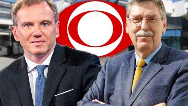 Armin Wolf, ORF-Stiftungsratvorsitzender Norbert Steger (Bild: KLEMENS GROH, ORF, APA/GEORG HOCHMUTH, krone.at-Grafik)