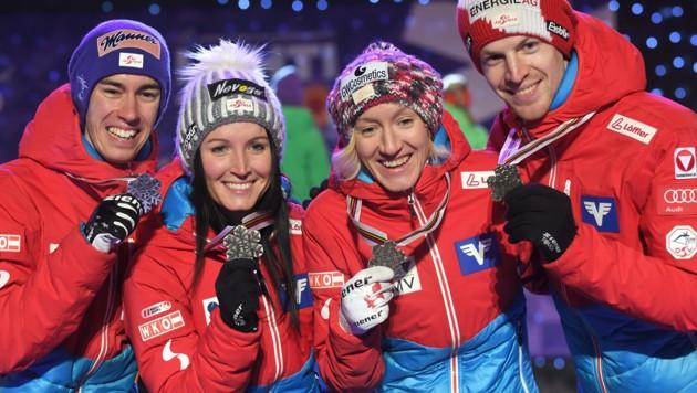 Stefan Kraft, Jacqueline Seifriedsberger, Daniela Iraschko-Stolz und Michael Hayboeck bei der Nordischen Ski-WM