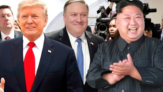 Donald Trump, Mike Pompeo und Kim Jong Un (Bild: AP, AFP, krone.at-Grafik)