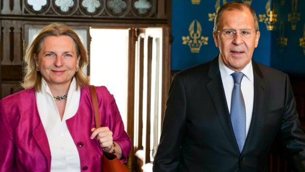 Außenministerin Karin Kneissl und Russlands Außenminister Sergej Lawrow (Bild: APA/BMEIA/ANGELIKA LAUBER)
