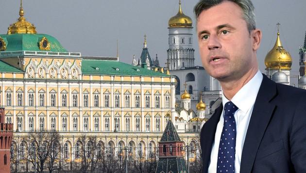 Im Moskauer Kreml werden die Fäden gezogen, die auf der von Russland annektierten Krim zusammenlaufen. Vordergrund: FPÖ-Minister Hofer (Bild: APA/AFP/MLADEN ANTONOV, APA/HERBERT NEUBAUER, krone.at-Grafik)