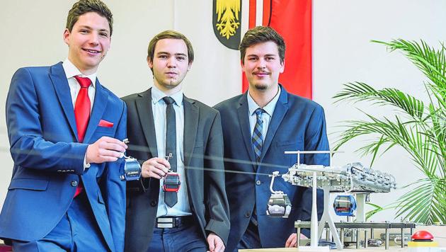 Seilbahn-Designer: Maximilian Rudorfer, Patrick Schmidhuber und Martin Reder (v.l.). (Bild: Markus Wenzel)