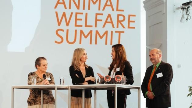 Die jordanische Prinzessin Alia, Moderatorin Nadja Bernhard, Maggie Entenfellner und Heli Dungler (Bild: Vier Pfoten/Adrian Almasan)