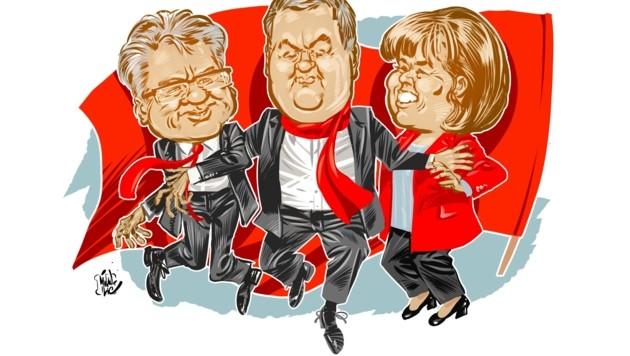 Linzer Stadtchef Klaus Luger, AK-Präsident Hans Kalliauer und SPÖ-Chefin Birgit Gerstorfer sind beim Maiaufmarsch am Linzer Hauptplatz gleichberechtigte (?) Redner. (Bild: Milan A. Ilic)