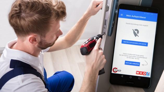 Über eine neue Handy-App kann man geprüfte und qualifizierte Aufsperrdienste in der Nähe ausfindig machen. (Bild: Klemens Groh, stock.adobe.com, krone.at-Grafik)