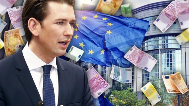 Bundeskanzler Sebastian Kurz steht vor harten Verhandlungen in Brüssel, schließlich geht es ums Geld. (Bild: PA/BKA/DRAGAN TATIC, stock.adobe.com, krone.at-Grafik)