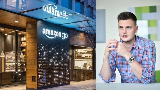 """Bernhard Aichinger kaufte im Amazon-Go-Shop ein: """"Es gibt viele Mitarbeiter, die frische Snacks zubereiten."""" (Bild: AP, Markus Wenzel)"""