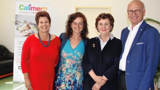 Gut abgestimmtes Team: U. Sams (Freiwillige), M. Summer (Projektleitern), H. Rabl-Stadler (Schirmherrin) und J. Dines (Caritas-Direktor). (Bild: Salzmann Sabine/Kronenzeitung)