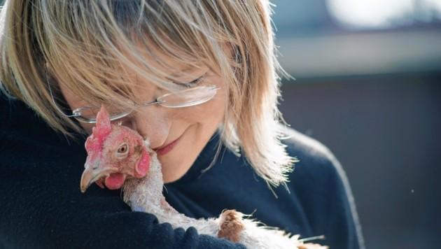 """Nina Hofstädter von """"Rette dein Huhn"""" mit einem ihrer Schützlinge: """"Wir sind total happy!"""" (Bild: Brigitte Gradwohl)"""