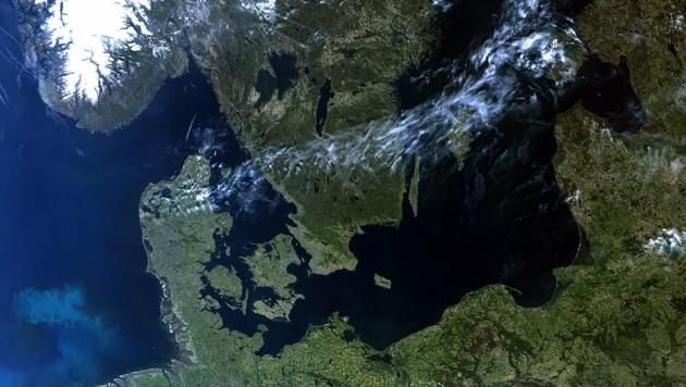 """Nordeuropa, aufgenommen von """"Sentinel-3B"""" am 8. Mai 2018 (Bild: Copernicus/EUMETSAT (CC BY-SA 3.0 IGO))"""