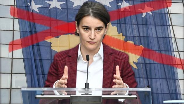 """Serbiens Ministerpräsidentin Ana Brnabic sprach von einer """"politischen Provokation"""" des Kosovo. (Bild: AFP/EMMANUEL DUNAND, AFP/Armend NIMANI, krone.at-Garfik)"""