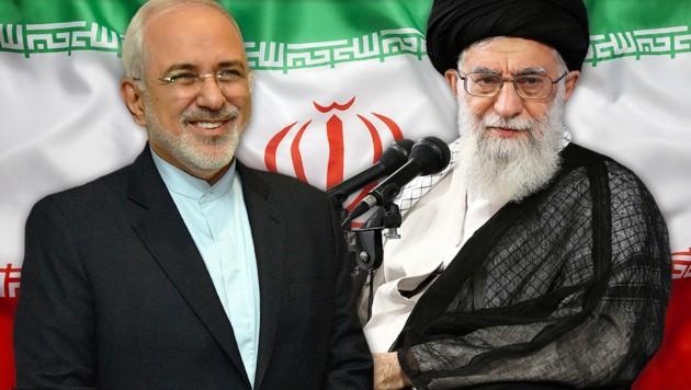 Irans Außenminister Javad Zarif (links), Revolutionsführer Ali Khamenei (Bild: AFP, stock.adobe.com, krone.at-Grafik)