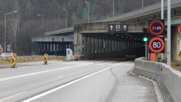 Die Stützwände auf der A 9 südlich des Plabutschtunnels werden in den kommenden vier Monaten saniert. (Bild: ASFINAG)