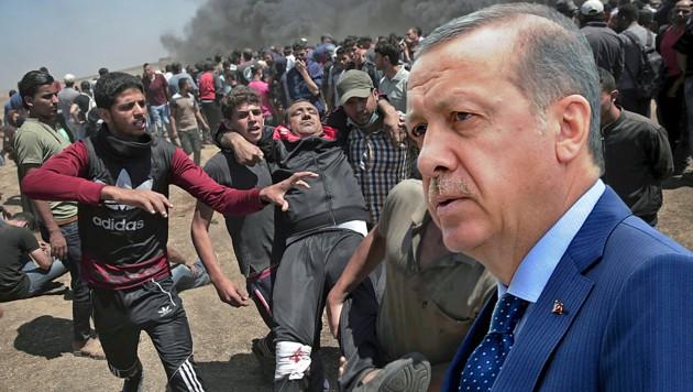 Der türkische Präsident Recep Tayyip Erdogan zog seine Botschafter aus den USA und Israel ab. (Bild: AP, krone.at-Grafik)