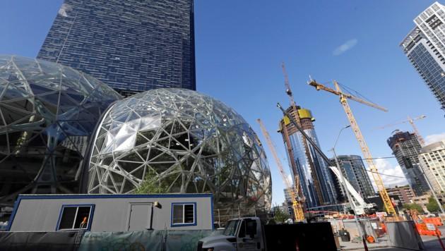 Ein Blick auf die Baustelle des neuen Amazon-Gebäudes (Bild: AP)