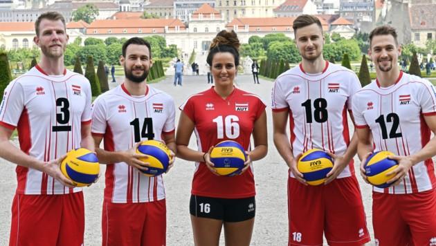 Die Teamspieler Wohlfahrtstätter, Ringseis, Markovic, Buchegger & Berger (Bild: APA/HANS PUNZ)