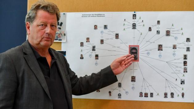 Drogenfahnder Reinhold Sommer erklärt das Drogennetzwerk. (Bild: © Harald Dostal / 2018)