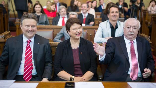 Michael Ludwig, Renate Brauner und Michael Häupl (Bild: APA/GEORG HOCHMUTH)