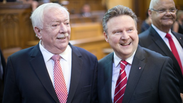 Michael Häupl und Michael Ludwig  (Bild: APA/GEORG HOCHMUTH)