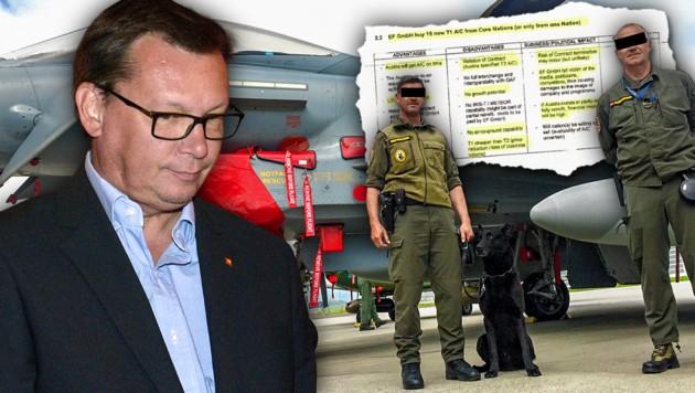 Österreich mit dem damaligen Verteidigungsminister Norbert Darabos (SPÖ) erhielt ab 12.7.2007 nur Eurofighter der alten Tranche eins. Ursprünglich war aber die Überstellung besserer Jets ab dem 30.5.2007 vereinbart. (Bild: APA/Hans Punz, krone.at, krone.at-Grafik)